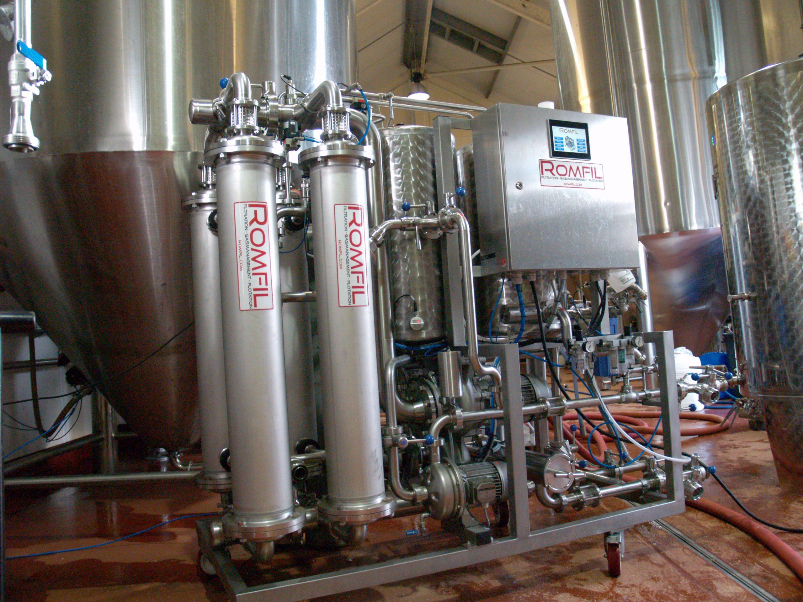 romfil x flow beer filtration equipment