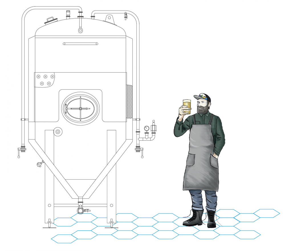 uni tank with brewer holding beer