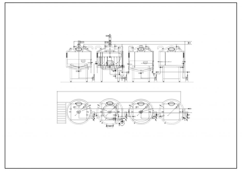 Technical drawing of 4 four vessel brewhouse