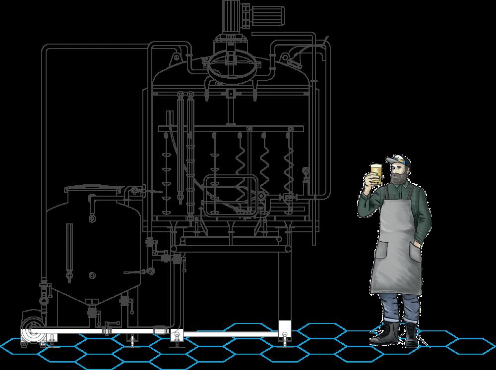 Distillation brewhouse drawing