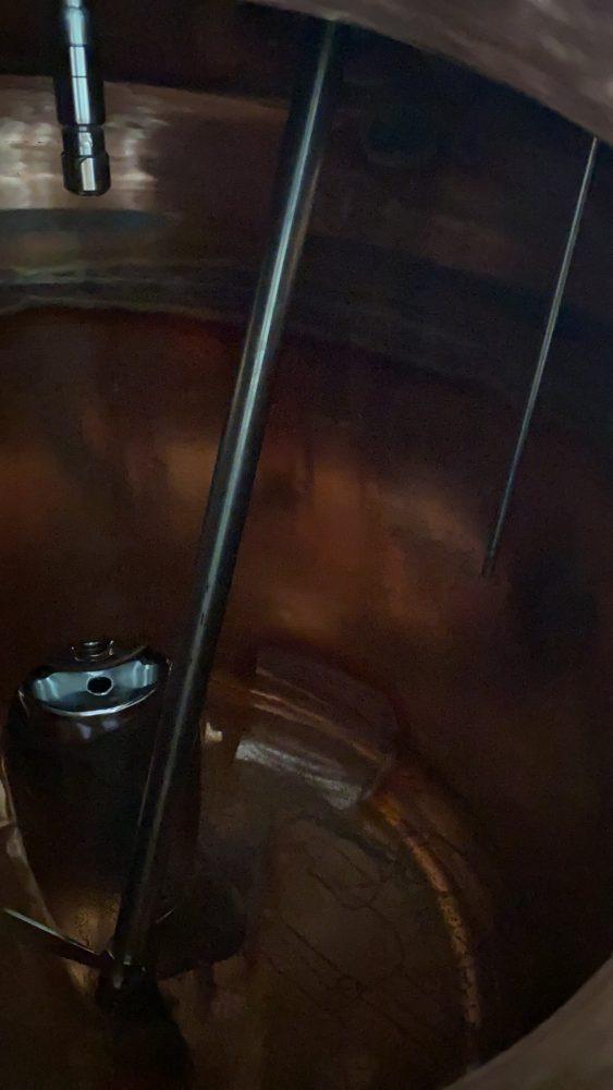 Inside a copper still