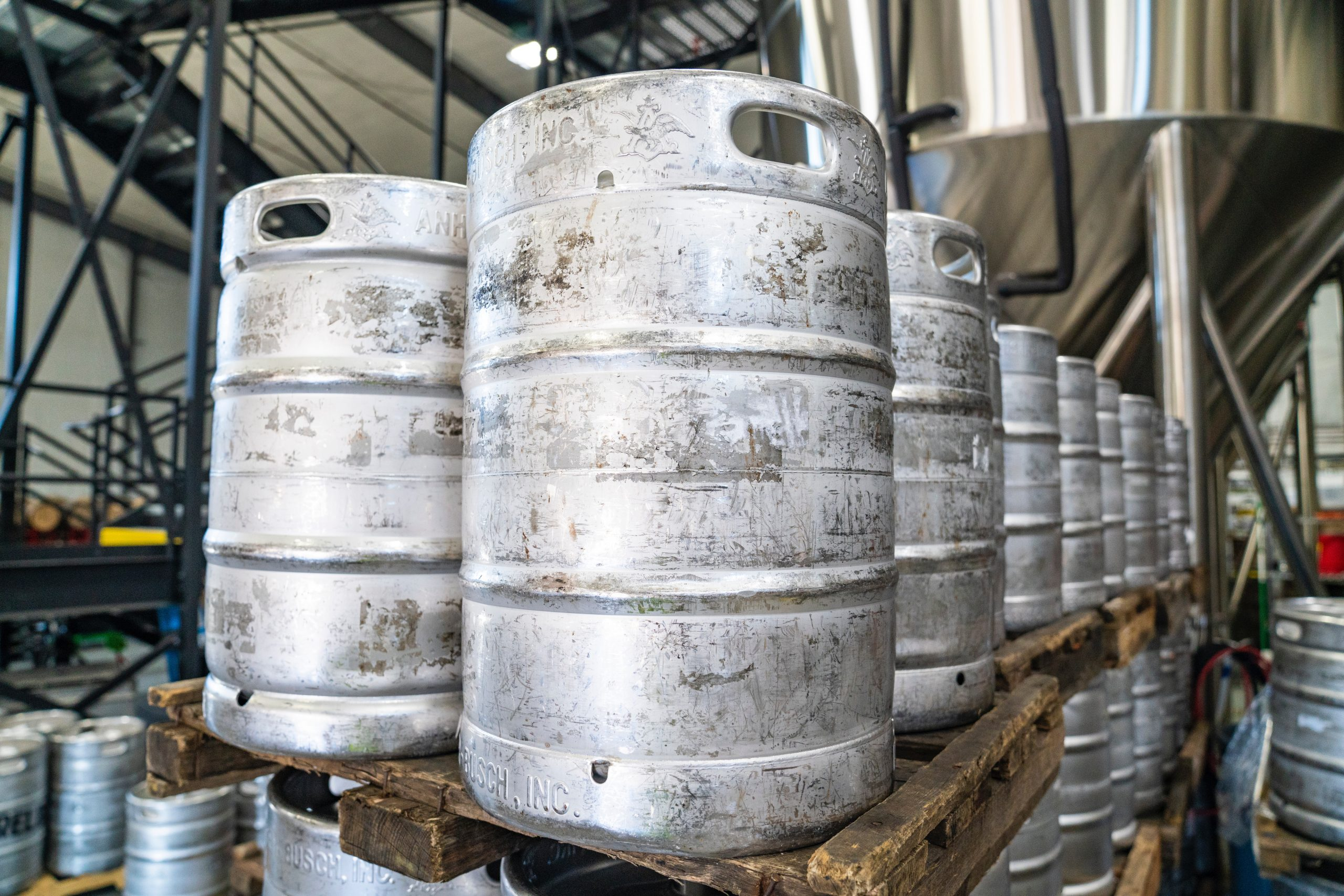 beer kegs ready for export