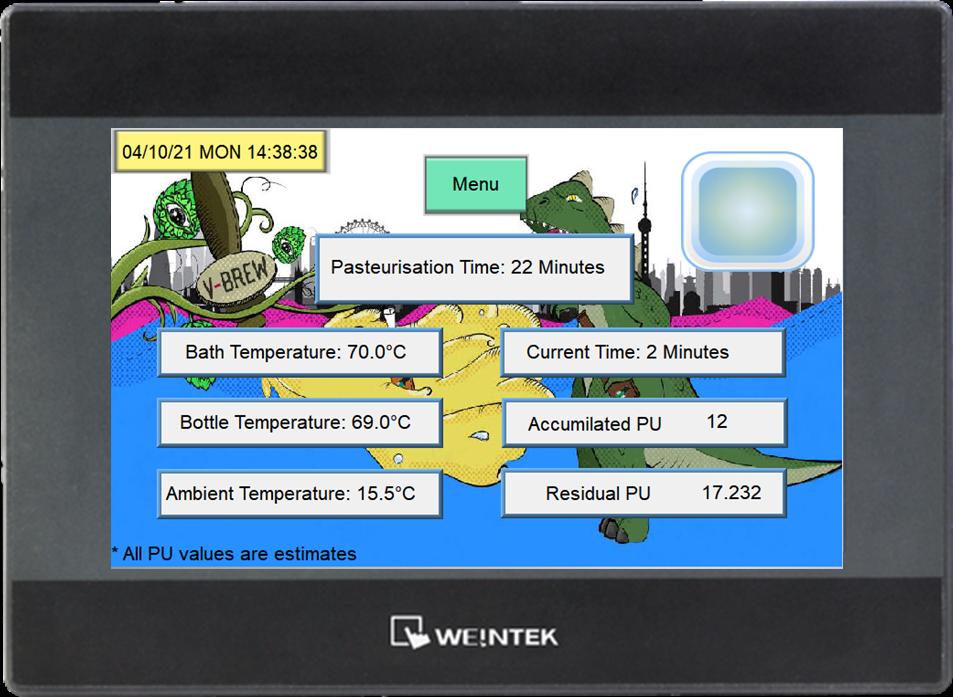 digital screen for brewing equipment